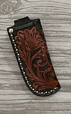 Nocona Black with Cognac Floral Tooled Leather Knife Sheath