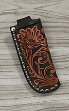 Nocona Black with Tan Floral Tooled Leather Knife Sheath