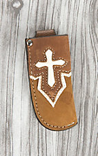 Nocona Tan with Ivory Overlay Cross Knife Sheath