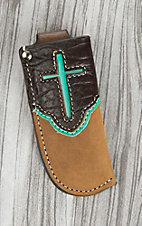 Nocona Tan with Light Blue Overlay and Chocolate Overlay Cross Design Knife Sheath