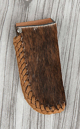 Nocona Brown Hair with Leather Lacing Knife Sheath