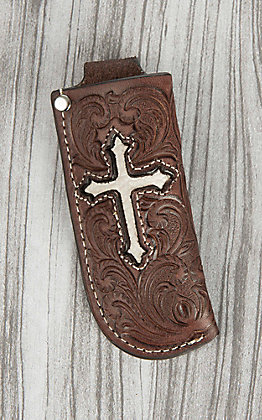 Nocona Brown Floral Embossed with Ivory Cross Inlay Knife Sheath