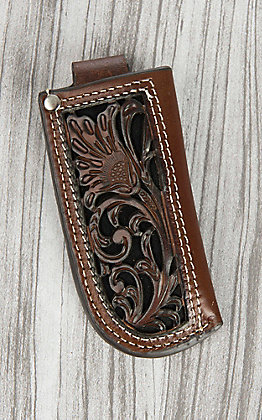 Nocona Brown Floral Tooled Leather and Black Inlay Knife Sheath