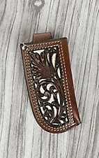 Nocona Brown with Chocolate Floral Tooled Leather and Ivory Inlay Knife Sheath
