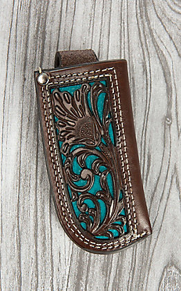Nocona Brown Floral Tooled Leather and Turquoise Inlay Knife Sheath