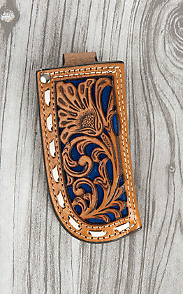 Nocona Tan Floral Tooled Leather and Royal Blue Inlay Knife Sheath