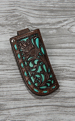 Nocona Dark Brown Leather with Floral Tooling and Turquoise Inlay Knife Sheath