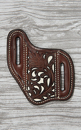 Nocona Dark Brown Leather with Floral Tooling and White Inlay Knife Sheath