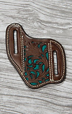 Nocona Brown Leather with Floral Tooling and Turquoise Inlay Knife Sheath