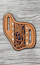 Nocona Tan Leather with Floral Tooling and Blue Inlay Knife Sheath