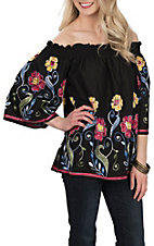 Radzoli Women's Black Floral Embroidered Off the Shoulder Styling Fashion Shirt