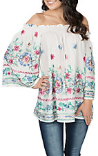 Radzoli Women's White Floral Embroidered Off the Shoulder Fashion Shirt