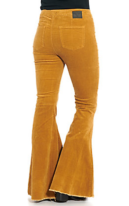 Lucky & Blessed Mustard Corduroy Flare Leg Pants