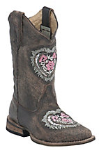 Roper Kids Sanded Brown w/ Silver Heart Underlay Square Toe Western Boots
