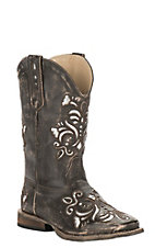 Roper Girl's Black with Silver Inlay Square Toe Western Boot