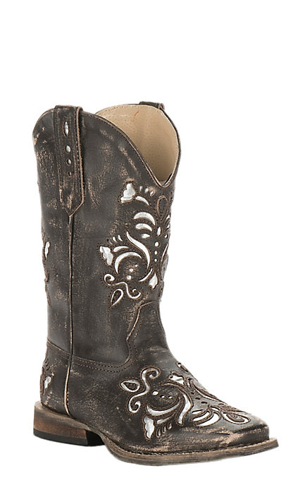 b3d37cf3fd6 Roper Girls' Black with Silver Inlay Square Toe Western Boot