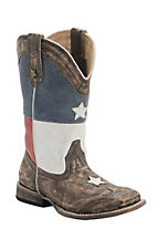 Roper Kid's Distressed Brown with Texas Flag Top Square Toe Western Boot