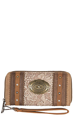 Justin Women's Light Tan with Lace Wallet