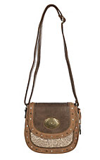 Justin Women's Tan Leather with Lace Crossbody
