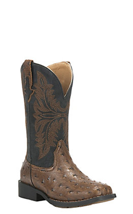 Roper Kids Black with Brown Ostrich Print Square Toe Western Boots