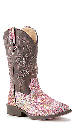 Roper Childrens Pink Glitter Aztec Square Toe Boot