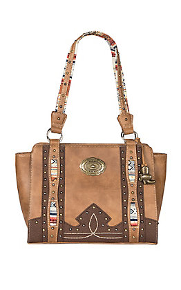 Justin Aztec with Tonal Brown Handbag