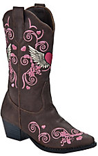 Roper Kids Brown w/ Pink Embroidereded Western Fashion Boots