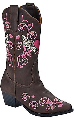 Roper Kids Brown with Pink Embroidereded Western Fashion Boots