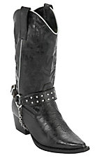 Roper Rockstar Kids Black w/ Bling Harness Snip Toe Western Fashion Boots