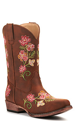 Roper Girls' Brown with Floral Embroidery Snip Toe Western Boot