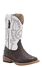 Roper Kids Chocolate Ostrich Print with White Top Square Toe Western Boot