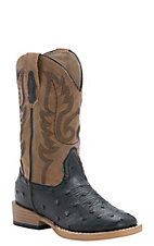 Roper Kids Black Ostrich Print w/ Tan Top Square Toe Western Boot