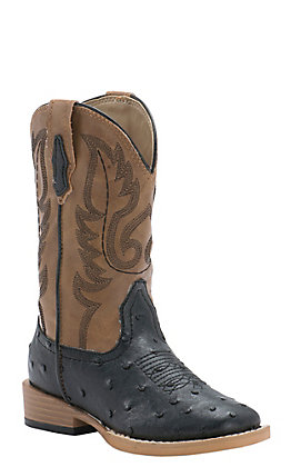 Roper Kids Black Ostrich Print with Tan Top Square Toe Western Boot
