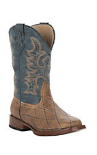 Roper Kids Tan and Blue Square Toe Western Boot