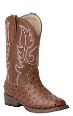 Roper Kids Brown Ostrich Print Square Toe Western Boots