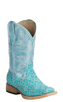 Roper Kids Turquoise Floral Glitter with Blue Ice Top Square Toe Western Boots