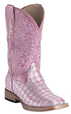 Roper Kids Pink Checked Glitter Square Toe Western Boot
