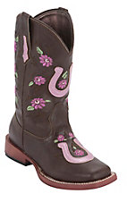 Roper Kids Chocolate w/ Pink Horseshoe & Flowers Square Toe Western Boots