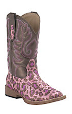Roper Kids Pink Glitter Cheetah w/ Brown Top Square Toe Western Boots