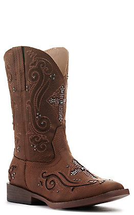 Roper Kids Brown with Crystal Cross & Studs Square Toe Western Boots
