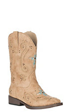 Roper Kids' Tan Faux Leather with Western Stitching and Sequin Cross Square Toe Boots