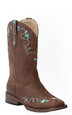 Roper Kids Brown with Turquoise Embroidery & Rhinestones Square Toe Western Boots
