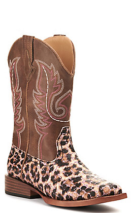 Roper Girl's Brown and Leopard with Glitter Wide Square Toe Western Boot