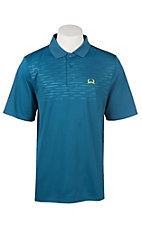Cinch Men's ArenaFlex Blue Embossed Short Sleeve Polo Shirt