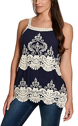Magnolia Lane Women's Navy with Cream Lace and Embroidery Sleeveless Fashion Top