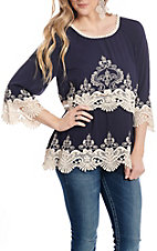 Anne French Women's Navy with Lace and Embroidery Fashion Top