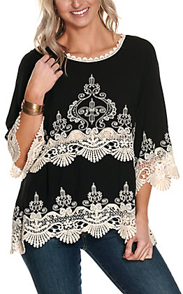 Magnolia Lane Women's Black with Embroidery and Lace Bell Sleeve Fashion Top