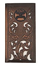 HOOey Cavender's Exclusive Brown Floral Embossed with Logo Rodeo Wallet / Check Book