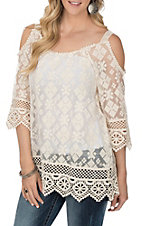 Anne French Women's Ivory Lace Cold Shoulder Fashion Shirt