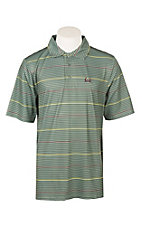 Cinch Men's ArenaFlex Green Striped Short Sleeve Polo Shirt